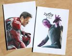 Iron Man and Vision (signed drawings) by Quelchii