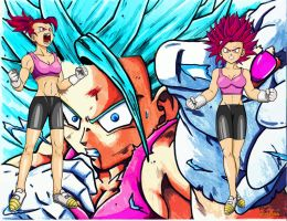 Wallpaper Son Bra SSGSS SSG lvl1 and 2 v.1 Alter by Yclan