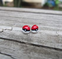 Pokemon Pokeball Earrings by Tsurera