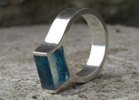 Blue resin ring by silverclay