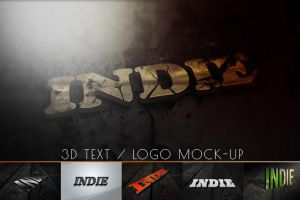 3d Text/Logo Mock-up v.2 / 6in1 by retinathemes