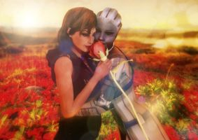 Jane and Liara: The war is over, my love. by CrystaliqEffects