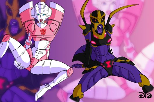 Arcee and Black Arachnia by colouredforpleasure