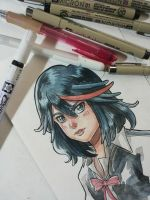 Ryuko Matoi watercolors fanart by MarisaArtist