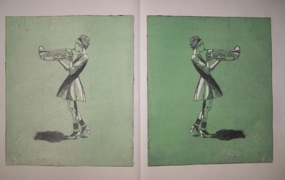 Trumpet Girl Diptych by mmmlewon