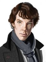 Painting Practice - Sherlock by Pseudolonewolf