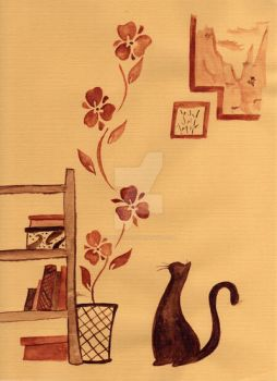 Cat and Flowers by OrangiCat2010