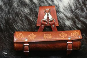 Leather Scroll Case with Celtic Designs by Versalla