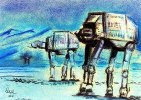 Imperial Walkers on Hoth by philippeL
