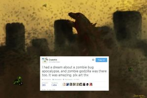 Zombie-bug apocalypse with Godzilla by Raaaphi