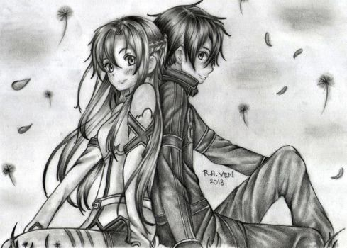 asuna and kirito by r-a-ven