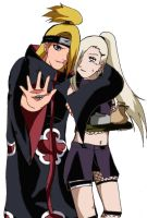 deidara and ino colorato by kimykaiba