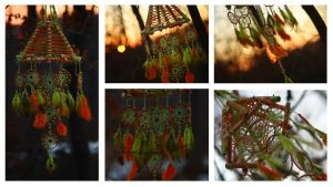 Green Orange turquoise dreamcatcher Lamp by Vision4LifeCro