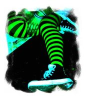 Green Stripes With Blus Shoes by CatherineAllison