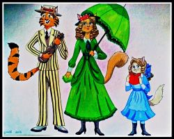 1910 Cat Family by FlapperFoxy