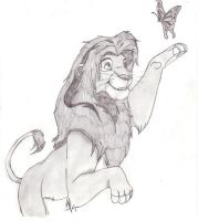 Simba playing with a butterfly by perfectpureblood