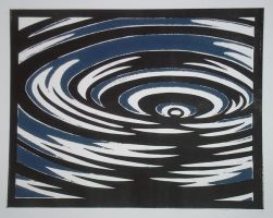 Water Ripples monotype by Melibells