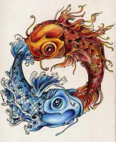 Two Koi Colored Tattoo by shepimp