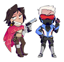 Mccree and Soldier by HeeeeresIzzy