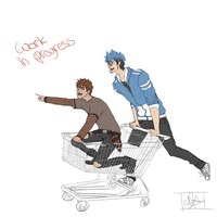 Regular shopping - Human Rigby and Mordecai by KatzeLexie