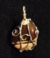 Wire-Wrapped Zebra Jasper Pendant by FaerieForgeDesign