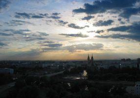 Sun over Magdeburg by DokJekyll