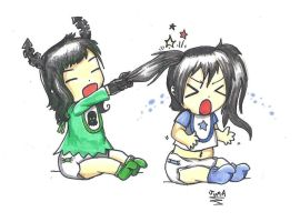 Baby Black Rock Shooter and Dead Master by Neon-Juma