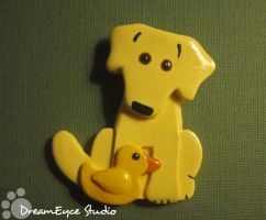 Yellow Lab and Rubber Ducky by DreamEyce