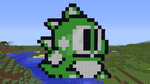Bub (Bubble Bobble Part 2 NES) redone in Minecraft by superslinger2007