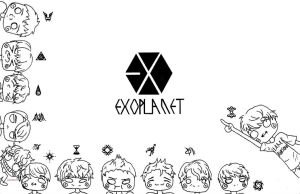 Chibi EXO Coloring Page by sketch-pan