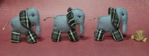 Trio of Miniature Elephant Plushies by Kyle-Lefort