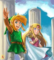 Tloz: A link between worlds - Link and Zelda by kaiser-nagai