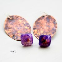 Copper Earrings with Purple Cracked Agate Cubes by IoannaEvans