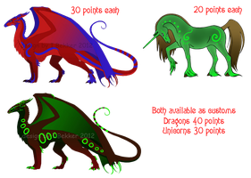 Dragon and Unicorn Adoptables - OPEN by Kihara-Quagga