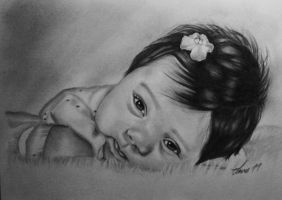 Baby Alexzia Pencil Drawing by laart39