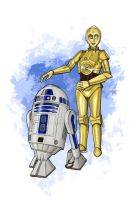 C3PO and R2D2 by bananacosmicgirl