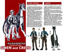 Gwen adn Creed Character Sheet by AD-Ink