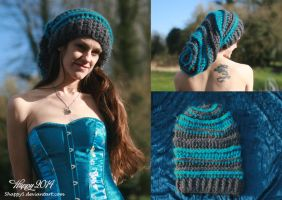 Grey and Turquoise Slouch Hat by 5Happy5