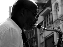 Saxophone Busker by Thundred