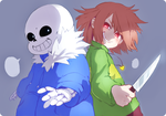 Sans and Chara by IExLibrisI