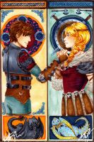 Hiccup and Astrid - Mucha by BettyPimm