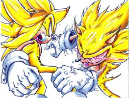super sonic vs. fleetway sonic by trunks24