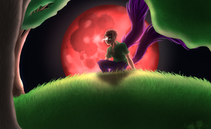 In the crimson moonlight by NorthAbyssal