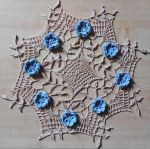 Blue rose doily by crochetamommy