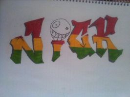 graffiti name  drawing (nick) by kemsley