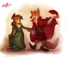the Shetland and the Red Fox by Iluvendure