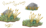 Practice paintings grass and rock by byrch