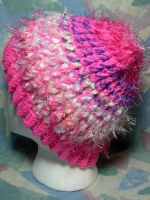 Pink Wispy Fluff Stripes Hat by SmilingMoonCreations