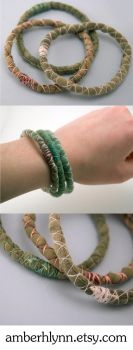 3 green upcycled bracelets by amberhlynn