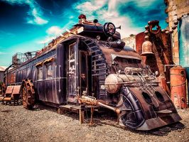 Steampunk train by wolfblueeyes